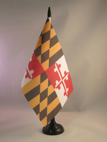 AZ FLAG BANDIERA DA TAVOLO MARYLAND 21x14cm - PICCOLA BANDIERINA STATO AMERICANO – USA - STATI UNITI 14 x 21 cm