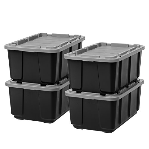 IRIS 27 Gallon Utility Tough Tote, 4 Pack, Black with Gray Lid (Rim Exterior Latch)