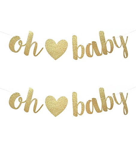 Gold Glittery Letters OH Baby with Removable Heart