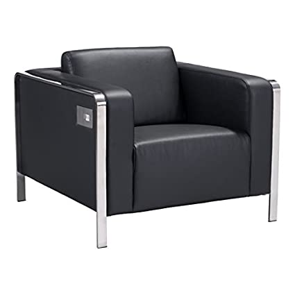 Brika Home Faux Leather Armchair In Black