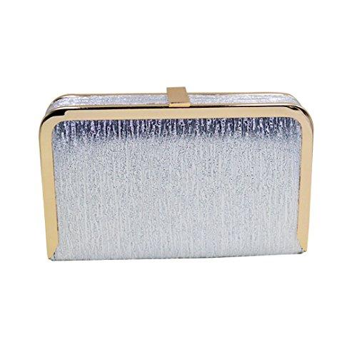 Milya elegante Abendtasche Clutch mit zusätzlichen Ketten Damen Portemonnaie Lang Portmonee Umhängetasche Motorrad-Tasche Kleine Tasche Silber bZFZ0oT