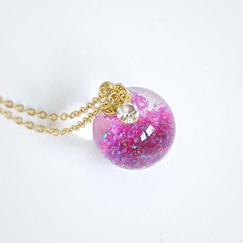 Diamond Globe Charm - Rose Crystal Glass Ball Necklace - Purple - Valcano Ash Glitter - Water Inside - Orb Pendant Prism Charm flakes - Bling - Gold - Diamond