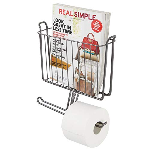 - mDesign Modern Metal Bathroom Wall Mount Magazine Holder with Toilet Tissue Paper Dispenser - Holds Magazines, Books, Newspapers and Tablets - Holds 2 Extra Paper Rolls - Graphite Gray