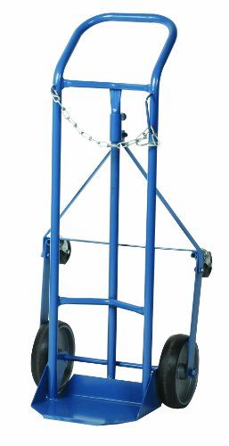 Wesco 210123 Professional Series Steel Cylinder Truck, Moldon Rubber Wheels, 250-lb. Load Capacity, 19
