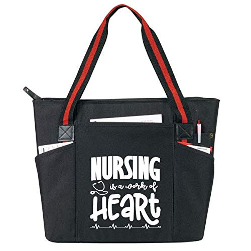 Large Nursing Tote Bags for Nurses - Perfect for Work, Gifts for CNA, RN, Nursing Students (Nursing Work of Heart Black)