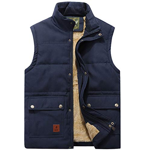 Flygo Men's Winter Warm Outdoor Padded Puffer Vest Thick Fleece Lined Sleeveless Jacket (Style 02 Blue, X-Large) (Best Cold Weather Vest)