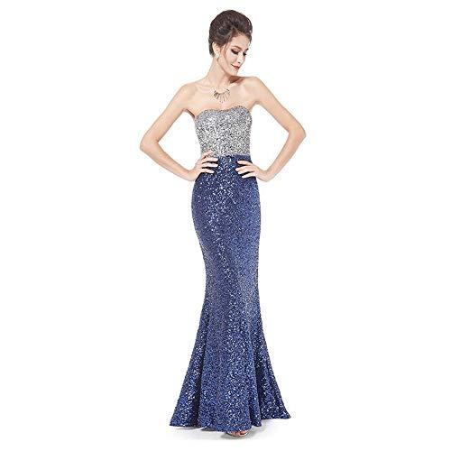 Yhjklm Da Xl Blu Sera colore Con Formale Confortevole Paillettes Maniche Vestito Nero Schienale Sexy Donna Abito Dimensione Senza 5rwq5AFTa