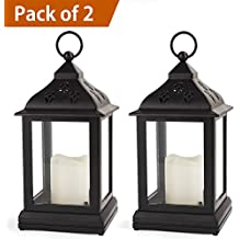 Bright Zeal /Pack of 2/ Vintage Candle Lantern with LED Flickering Flameless Candle (Black, 8hr Timer, Batteries Included) - Decorative Lanterns Battery Powered - Outdoor Hanging Lantern LED
