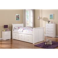 DONCO Kids 125-TW Sleigh Captains Bed, Twin/Twin, White