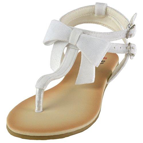 alpine swiss Womens Velvet Bow Sandals T-Strap Thong Gladiator Slingback Flats White zg6yyx
