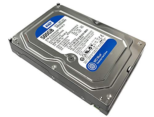 WD Blue 500GB  Desktop  Hard Disk Drive - 7200 RPM SATA 6 Gb/s 16MB Cache 3.5 Inch  - WD5000AAKX (Renewed)