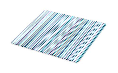 Glass Lavender Vintage (Ambesonne Striped Cutting Board, Blue Purple Teal Aqua Lavender Colored Vertical Stripes Geometric Abstract Vintage, Decorative Tempered Glass Cutting and Serving Board, Large Size, Multicolor)