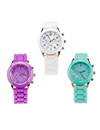 Set of 3 Stylish High Quality Silicone Quartz Wrist Watches / Wristwatches In White And Fluorescent Turquoise And Purple Colours By VAGA