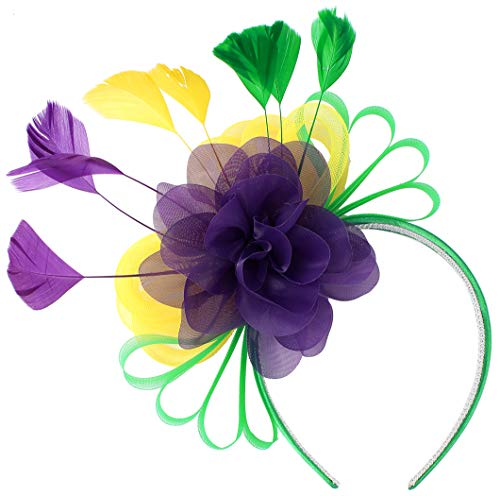 Myjoyday Feather Cocktail Fascinator Hats for Women Derby Wedding Headband Tea Party Headwear Mardi Gras Fascinators for Ladies (Purple and Yellow and Green)