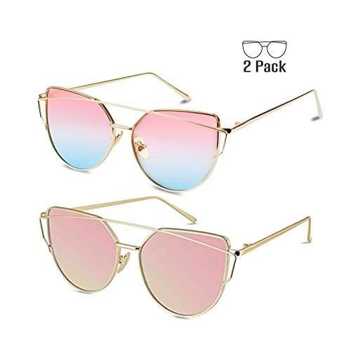 Lavender Womens Sunglasses - Livhò Sunglasses for Women, Cat Eye Mirrored Flat Lenses Metal Frame Sunglasses UV400 (Gold Pink + Gold Pink Lavender)