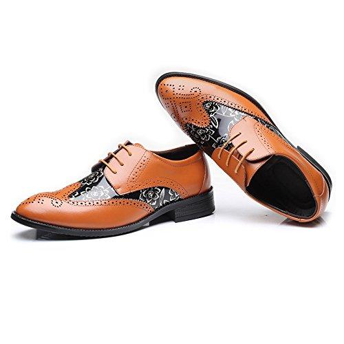 Yaojiaju Hommes Oxfords Chaussures, Creux Carving Splice Lisse Fleur Motif PU en Cuir Lacets Richelieus Doublés Respirant Orange