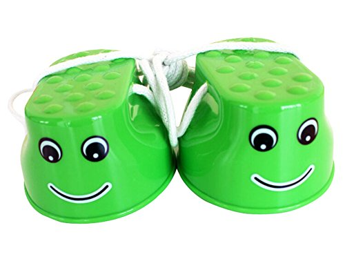 Outdoor Sports Toys Smiley Face Stilts 1 Pair GREEN by Panda Superstore