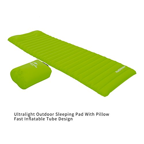 Naturehike Ultralight Outdoor Sleeping Pad with Pillow Fast Inflatable Tube Design (Green)