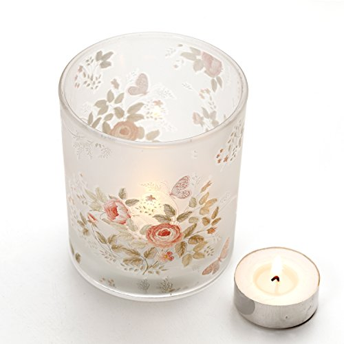 V-More Peony and Butterfly Decal Frosted Glass Candle Holder Votive Candle Holder Tealight Holder 3.54-inch Tall For Home Decor Wedding Party Celebration (Set of 3) (Frosted Peony)