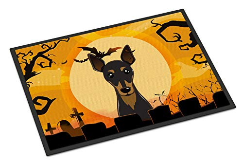 Caroline's Treasures Halloween Min Pin Indoor or Outdoor Mat, 24 by 36