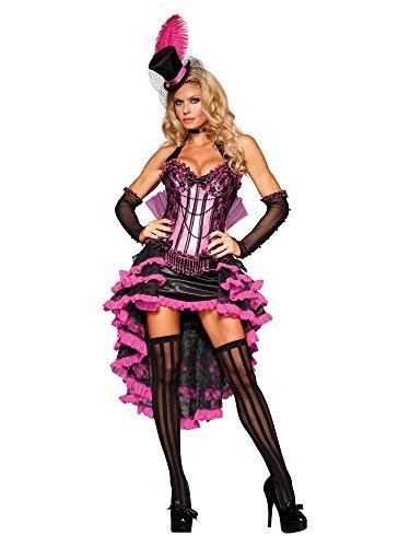 InCharacter Costumes Women's Burlesque Beauty Costume, Pink/Black, (Burlesque Saloon Girl Costume)
