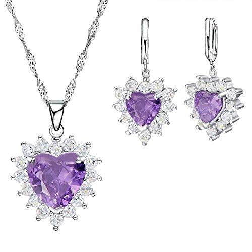 Maylena Belle 925 Sterling Silver Simulated Amethyst Purple Crystal Heart Pendant Necklace and Earrings Set ()