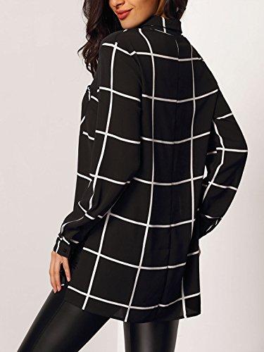 Yingsssq Quadri Dimensione Bianca Nera A Elegante Lunga Lunghe Nero colore L Nero Donna Con Camicia Maniche rqxC0Fr