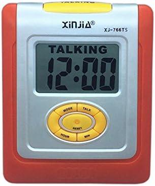 VSONE Reloj Despertador Parlante en Español, Alarma LCD con voz, Reloj Hablando (Naranja)