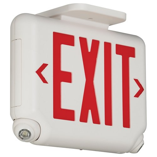 HUBBELL LIGHTING EVCURW Dual-Lite Led Combination Exit/Emergency Light, Red Letters, White