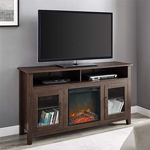 WE Furniture Tall Rustic Wood Fireplace Stand for TV