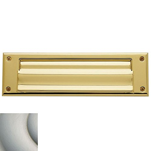 Baldwin 0017.150 Satin Nickel Letter Box Magazine Sized Spring Tension Brass Letter Box Plate with Hinged Interior Cover 0017