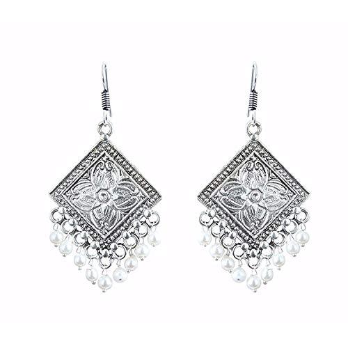 Efulgenz Boho Jewelry Indian Oxidized Silver Vintage Retro Ethnic Dangle Tribal Tibetan Gypsy Dangle Earrings for Girls Women