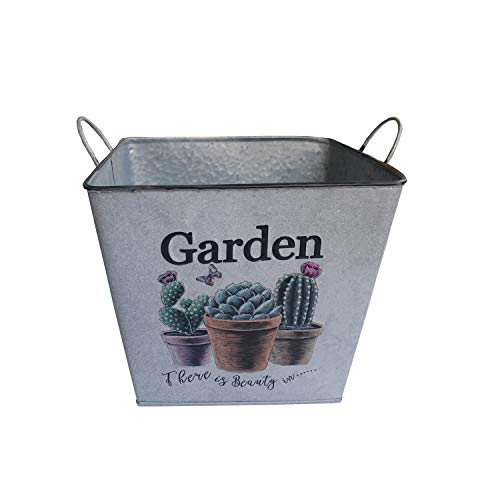 - Ashley ZC Metal Planters, Iron Flower Pot - Square Garden Container Box Succulent Bucket Basket with Handles - Beverage Tub Can for Parties Indoor or Outdoor Decor