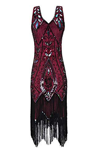 Radtengle Women's 1920s Flapper Dress V Neck Fringe Beaded Great Gatsby Party Dress Wine Red