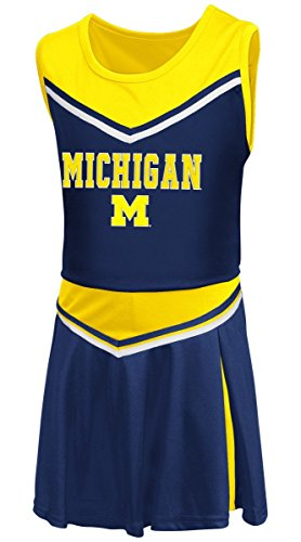 Colosseum Costumes (Girls Toddler Michigan Wolverines Blue Aerial Cheer Set (4T))
