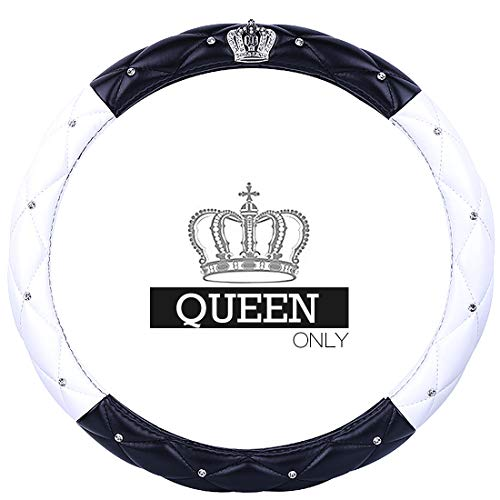 Queen's Car Steering Wheel Cover with Noble Crown + Bling Diamond + Lattice Design + Soft Leather Auto Stylish Elegant Collection Accessories Universal 15
