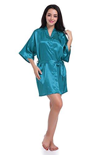 SexyTown Women's Short Satin Lounge Robes Bridesmaids Charmeuse Lingerie Sleepwear (X-Large, Peacock Blue)
