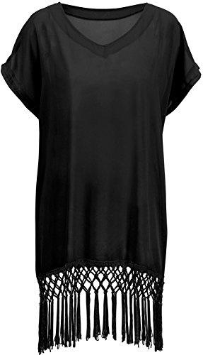 AshopZ Women's Stylish Solid Color Beachwear Bikini Swimsuit Cover up,Black
