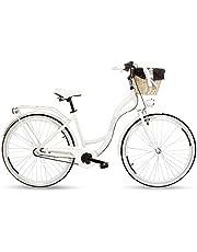 Goetze Style aluminium frame damesfiets retro vintage stadsfiets, 28 inch wielen, 3 versnellingen, Shimano Nexus, terugtraprem, diepe instap, mand met bekleding gratis