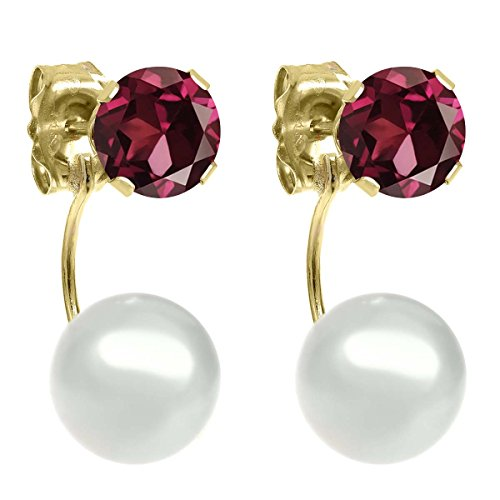 Gem Stone King 1.28ctw Round 5mm Red Rhodolite Garnet 14K Yellow Gold Stud Pearl Earrings