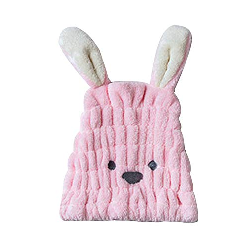 Women Girls Cute Bunny Ears Hair Drying Cap Rabbit Emoji Embroidered Turban Hat Towel Coral Velvet