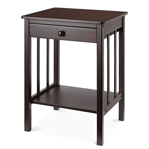 HOMFA Bamboo Night Stand with Drawer and Shelf Storage Multipurpose End Side Table Home Furniture, Retro Color (Tables Drawers With End)