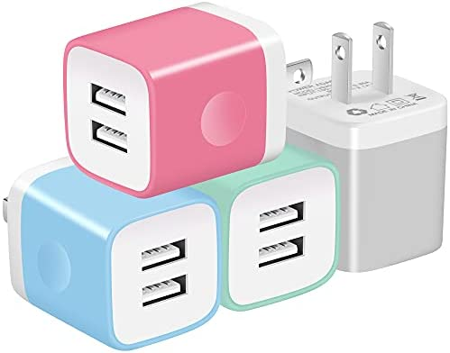 X-EDITION USB Charger Plug, 4-Pack 2.1A Dual Port USB Wall Charger Power Adapter Charging Block Cube Compatible with Phone Xs Max/Xs/XR/X/8/7/6 Plus/5S, Samsung, LG, Moto, Android Cell Phones More