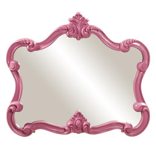 Howard Elliott Veruca Rectangular Ornate Wall Mirror, Vanity, Glossy Hot Pink, 28 -
