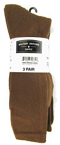 Military Style Men's Anti-Microbial Boot Socks - COYOTE BROWN - 3 PAIR -