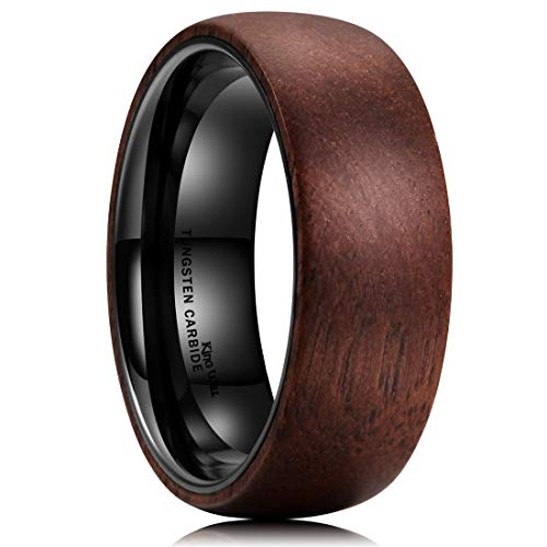 (King Will 8mm Tungsten Carbide Ring Dome Inner Hole Plated Black Inlaid with Wood Comfort Fit 13.5)