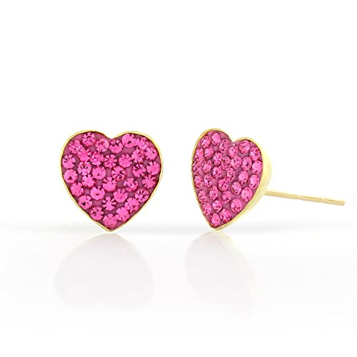 14k Yellow Gold and Copper Heart Shape Stud Earrings with Swarovski Elements Crystals, Choice of Colors (Pink)
