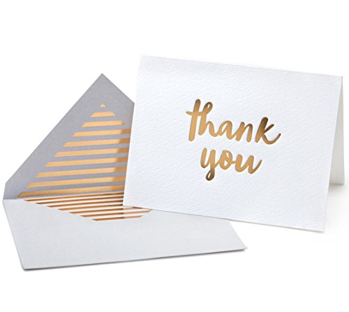 - Luxury Gold Foil Letterpress Thank You Cards and Gray Envelopes 20 Pack - Opie's Paper Company (Gold)