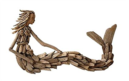 Amazoncom Driftwood Sitting Mermaid Wall Sculpture Set Of 2