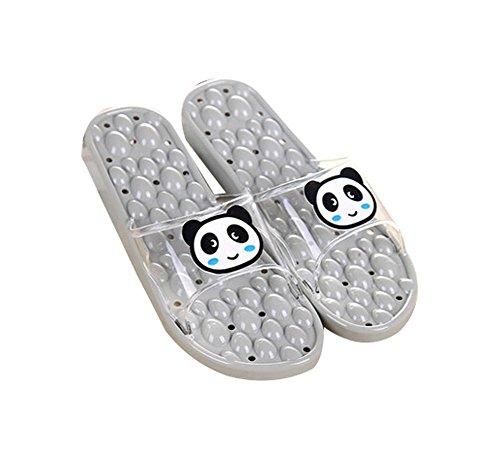 Women SPA Massage Slippers Bathroom Household Slippers US6.5-8.5, GRAY Panda